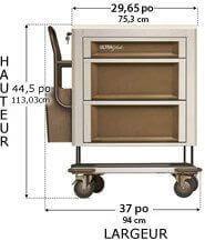 406X2V1-UltraGlide 3 drawer medication cart